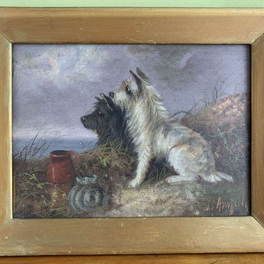George Armfield, Terriers, Oil on Panel