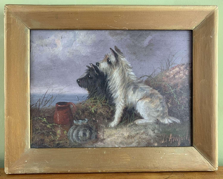 George Armfield, Terriers, Oil on Panel