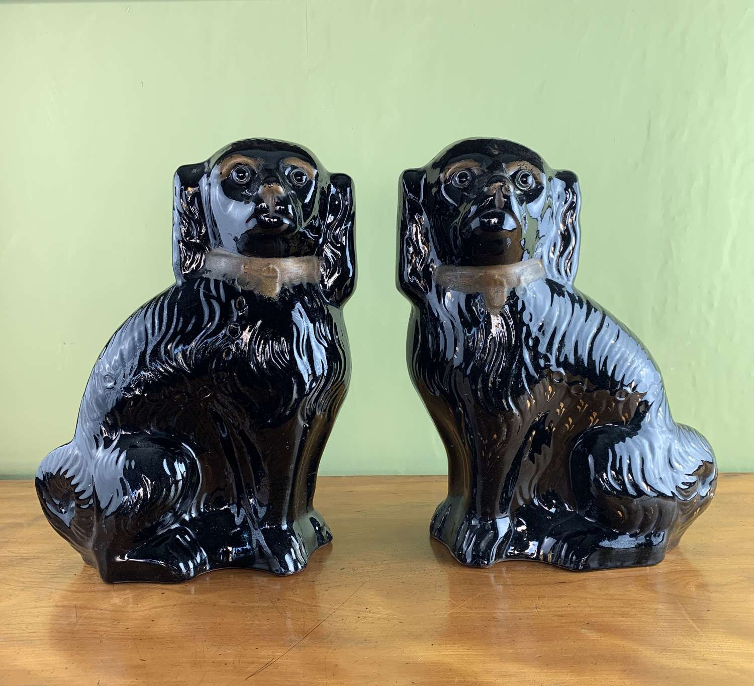 Pair of Victorian Black Staffordshire Spaniels