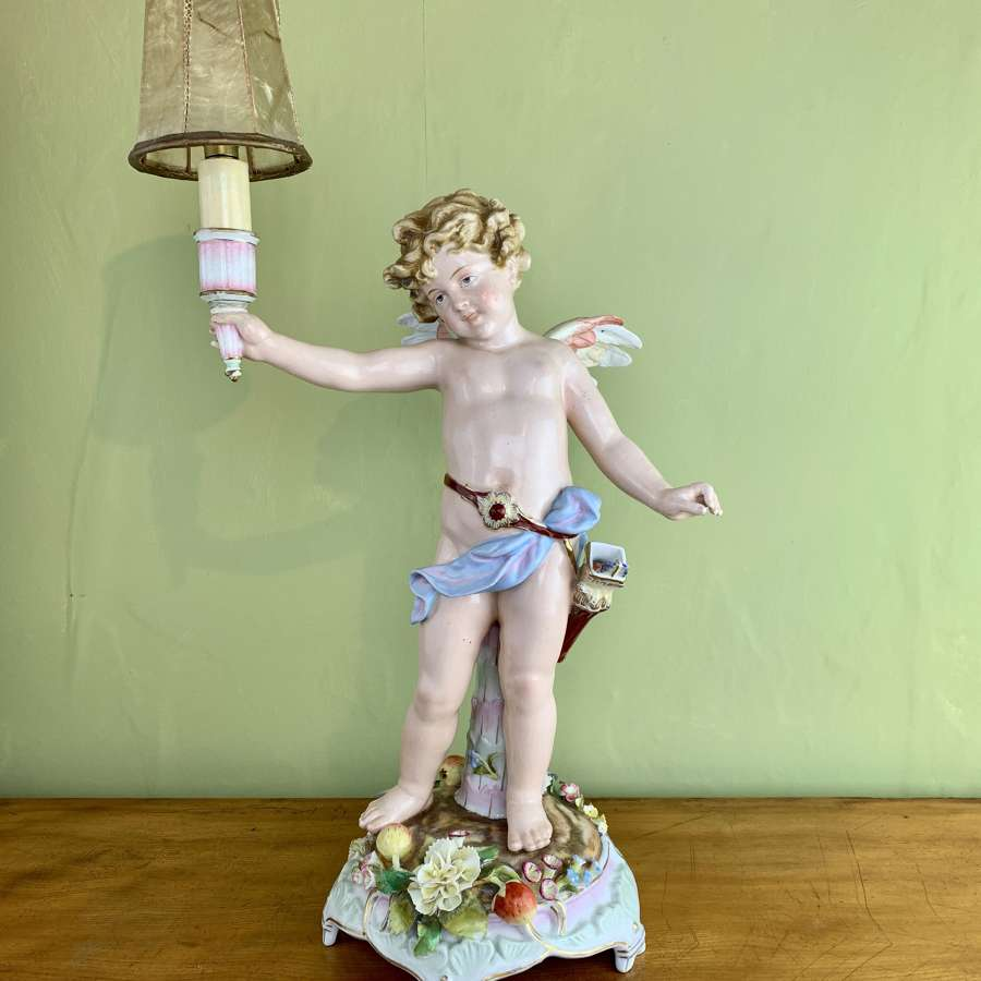 Antique Schierholz Porcelain Cherub Table Lamp