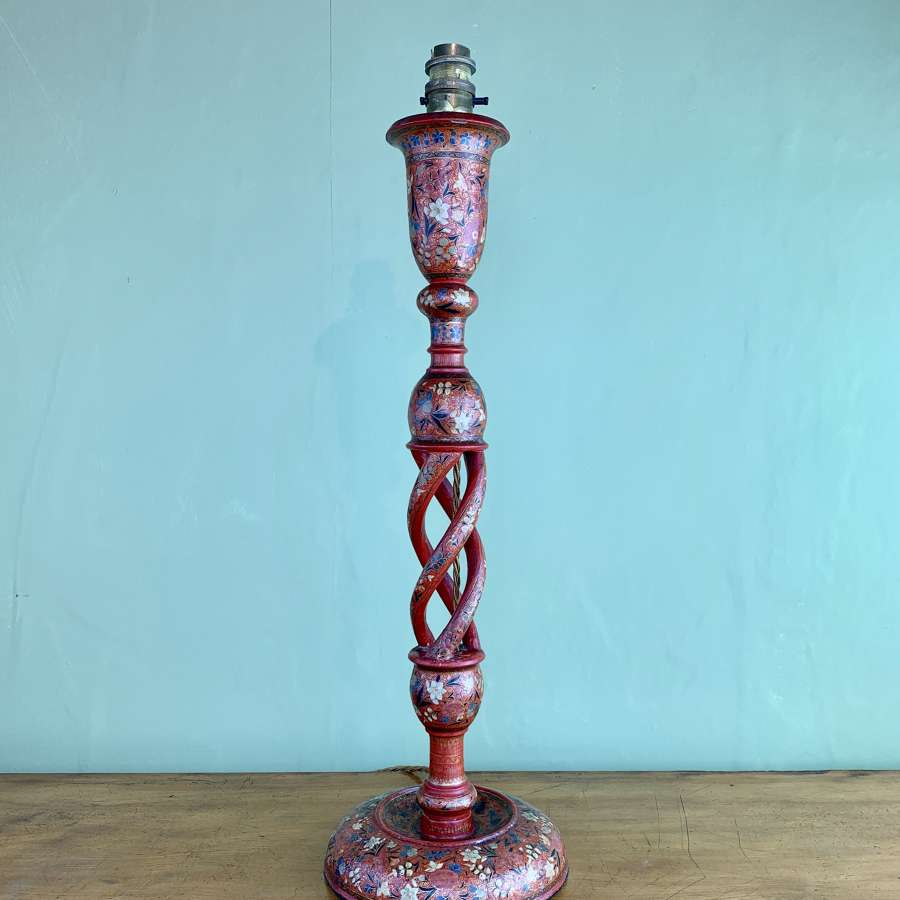 Antique Kashmiri Candlestick Lamp