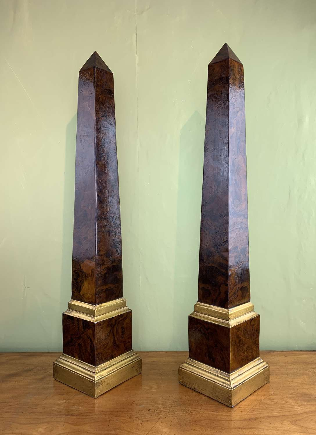 Large Pair of Walnut Veneered & Gilt Obelisks