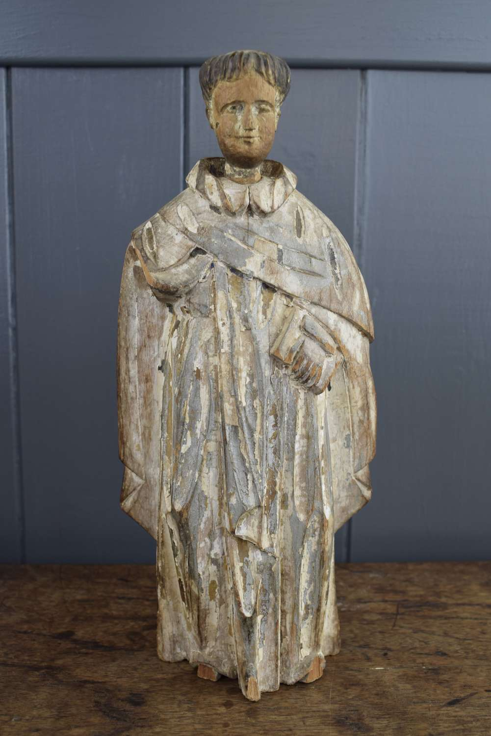 Spanish Colonial Religious Carving of a Monk