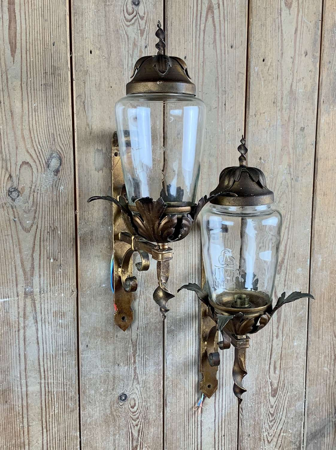 Pair of Gilt Toleware & Wrought Steel Porch Lanterns