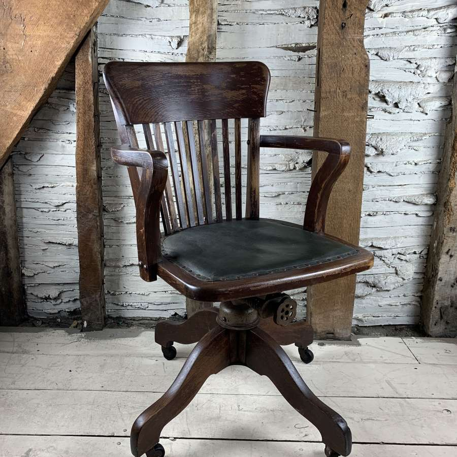Edwardian Oak Swivel Desk Chair by Hillcrest