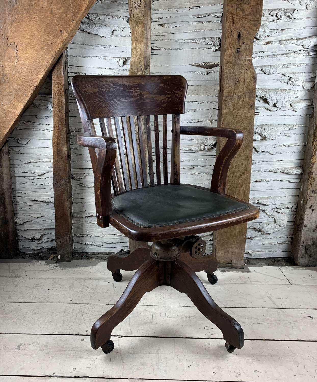 Edwardian Oak Swivel Desk Chair by Hillcrest