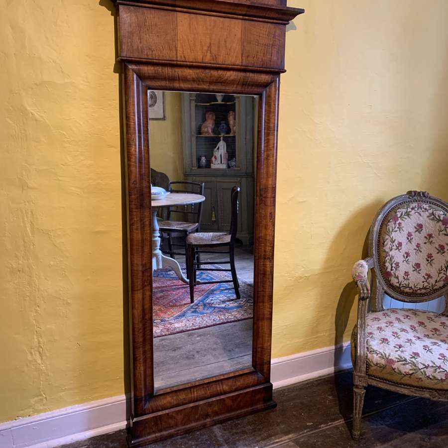 Biedermeier Mahogany Full Length Mirror