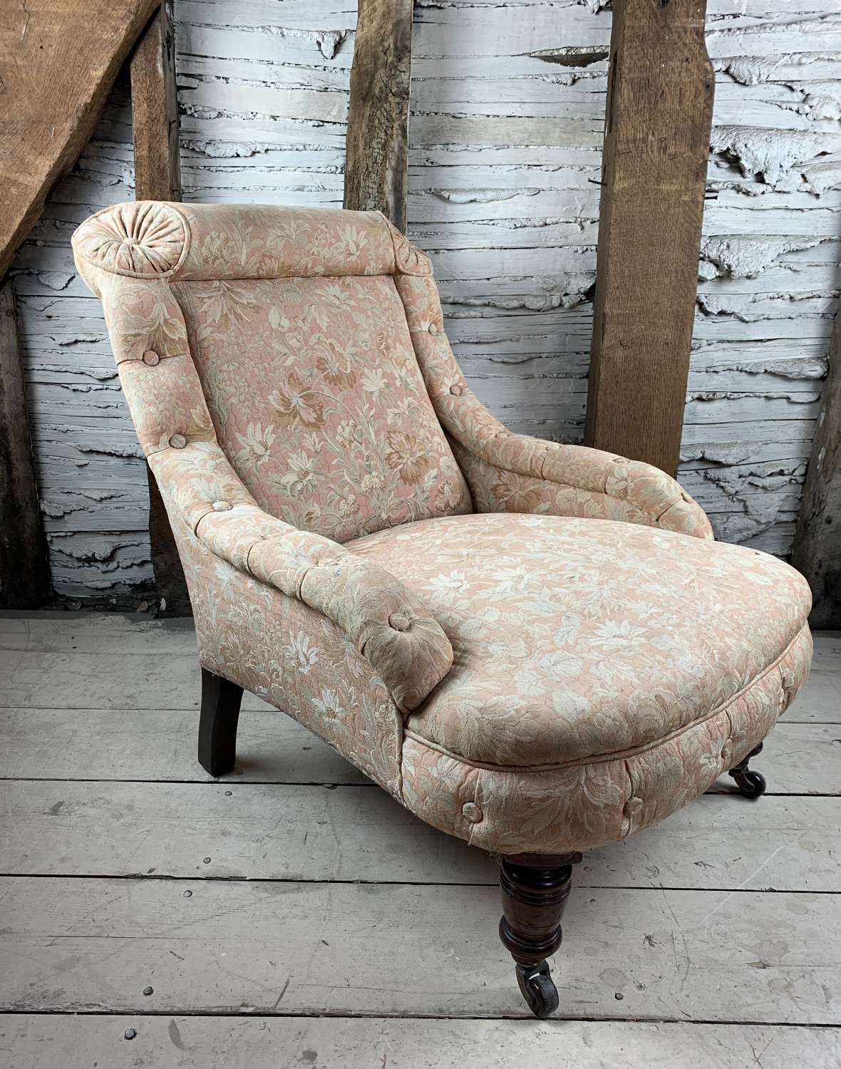Antique French Armchair with Button Borders