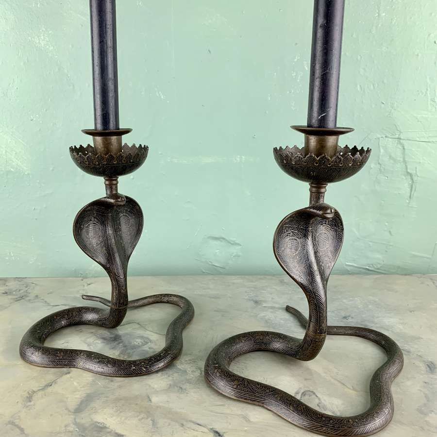 Pair of Indian Enamelled Brass Cobra Candlesticks