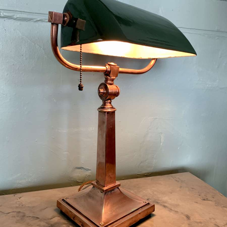 1930's Copper on Brass Bankers Lamp with Green Enamel Shade