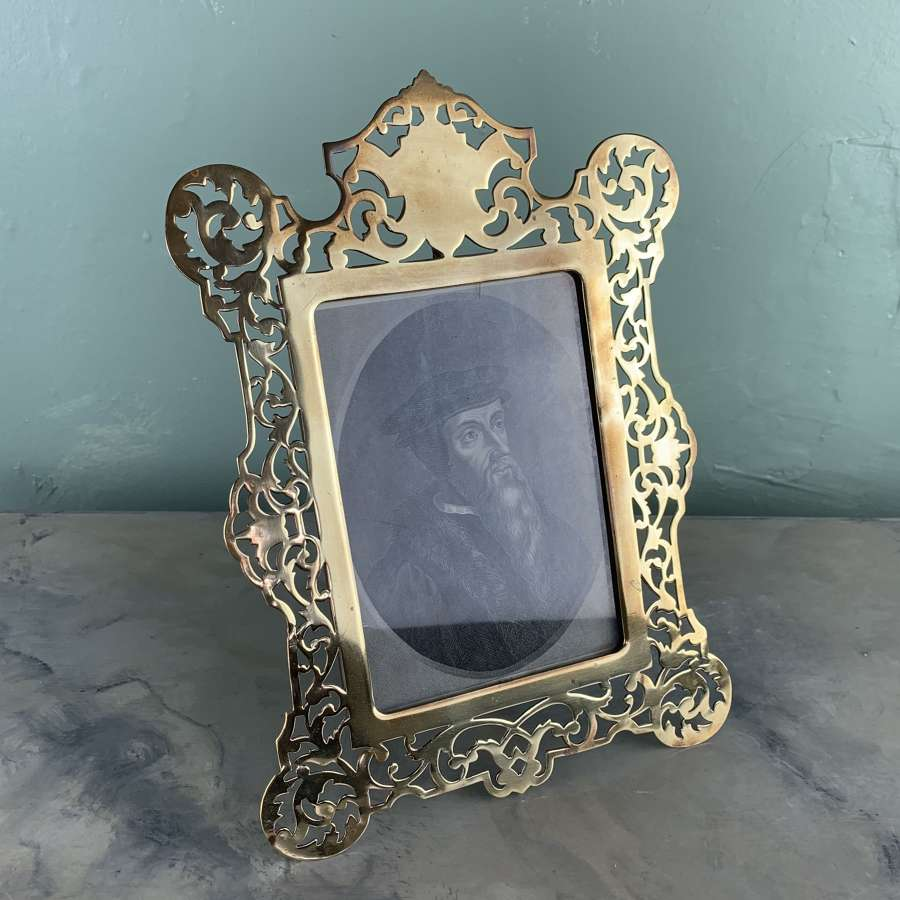Antique Pierced Brass Easel Back Photograph Frame
