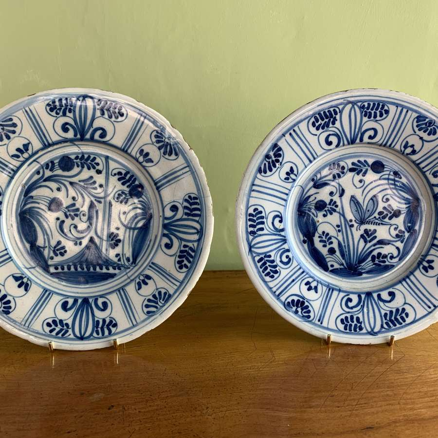 Pair of Delft Blue & White Tin Glaze Plates, mid 18th Century