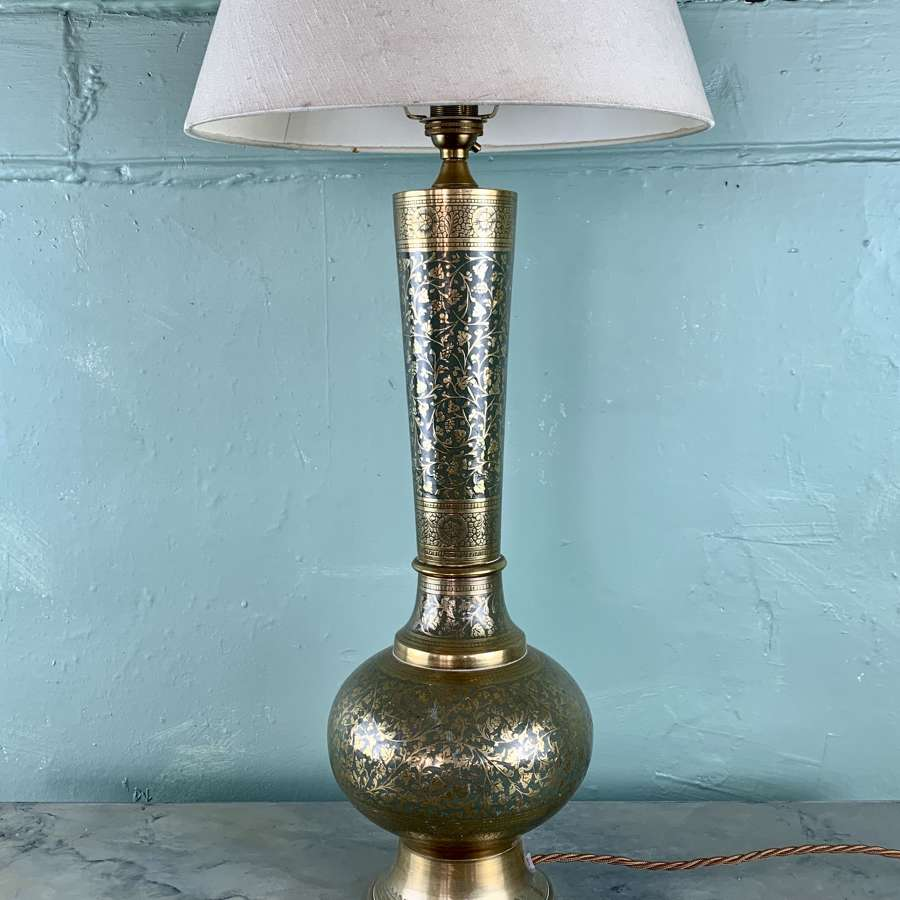 Indian Blue Enamel Brass Table Lamp