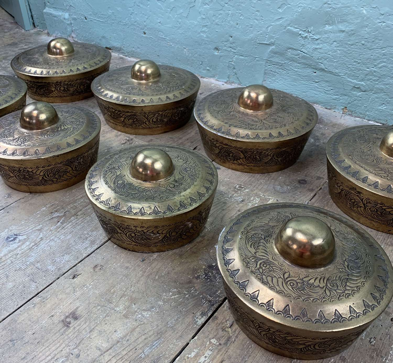 Set of Eight Indonesian Bronze Gamelan Gongs