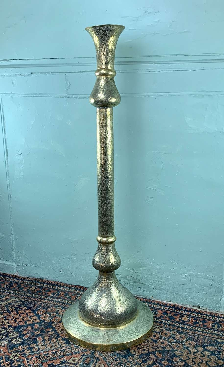 Cairoware Mamluk Revival Pierced Brass Floor Lamp