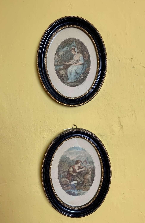 Pair of Bartolozzi Stipple Engravings