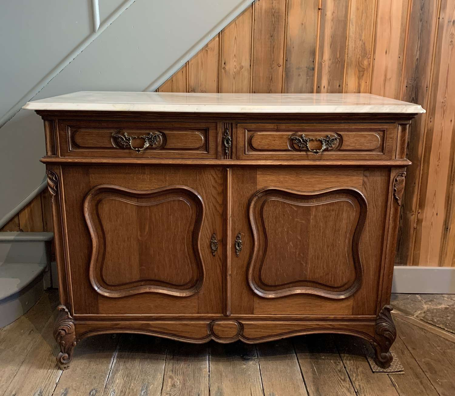 French Oak Buffet with Carrara Marble Top