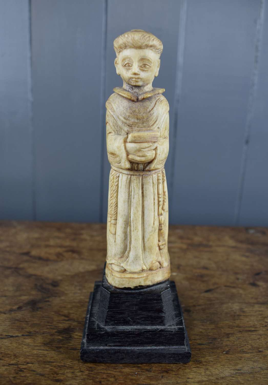 Antique Colonial Carved Bone Figure of St Anthony