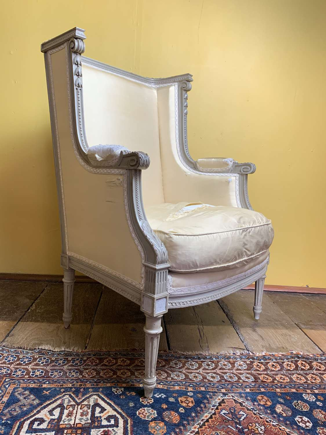 French Louis XVI Style Wing Armchair in Original Paint