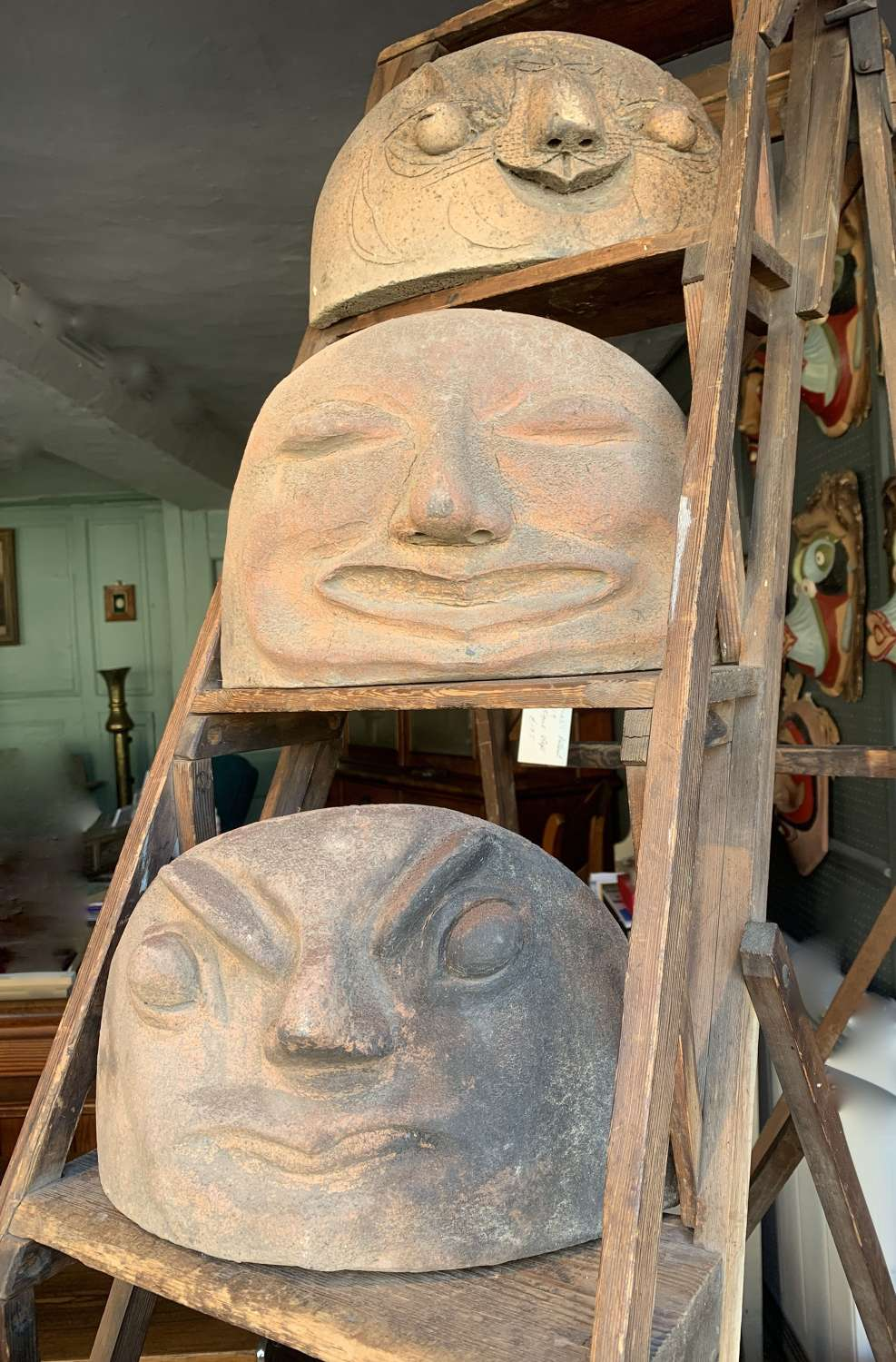 An Unusual Set of Ten Fired Clay Heads