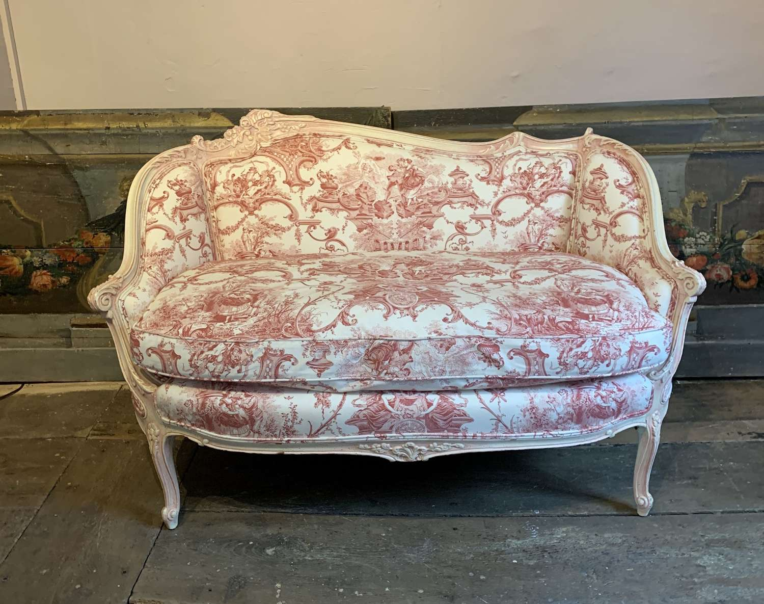 Antique French Painted Settee with Toile de Jouy Upholstery