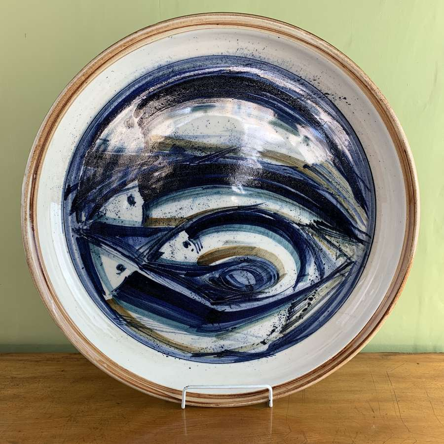 Large Hand Painted Ceramic Charger by Roger Owen