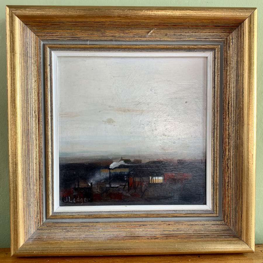 Janet Ledger, Industrial Landscape, Oil on Board