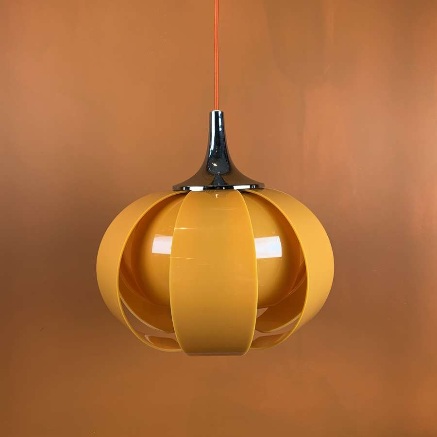 Vintage 1970's Orange Plastic Pendant Petal Light