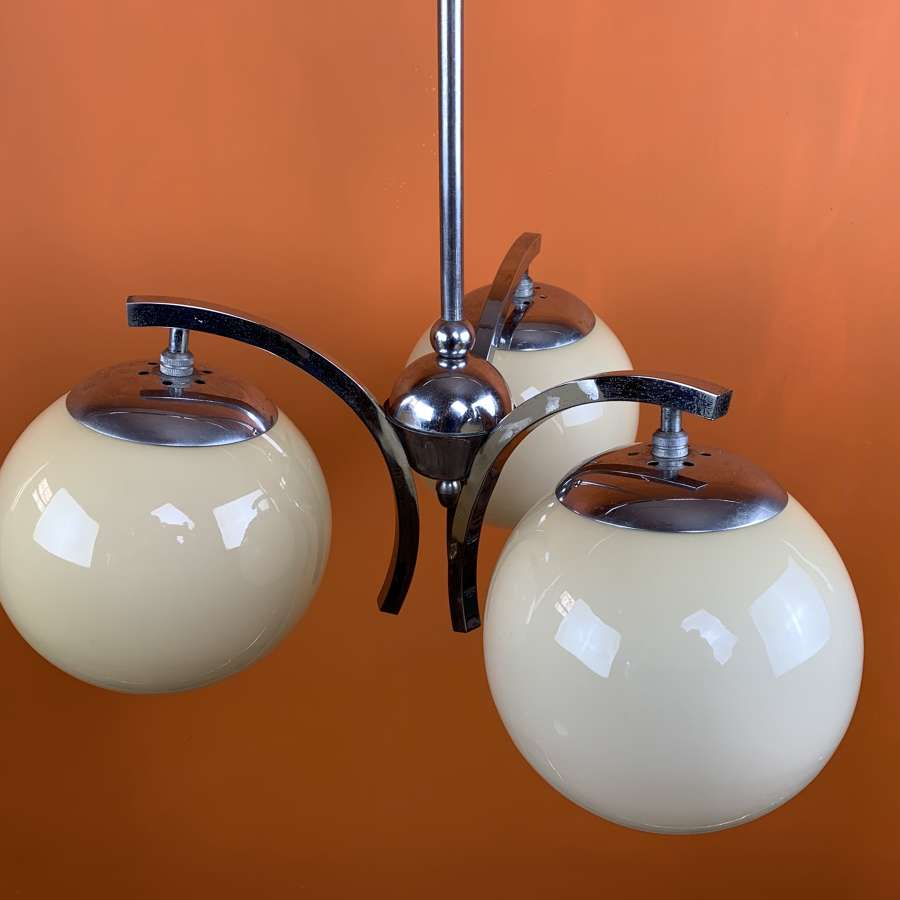 Art Deco Chrome Pendant Light with Glass Globe Shades