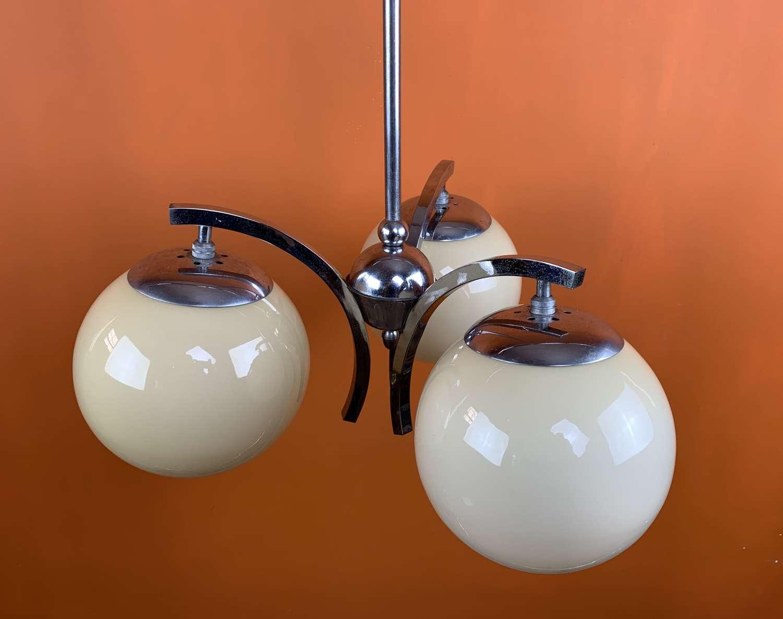 Art Deco Chrome Pendant Light with Glass Globe Shades