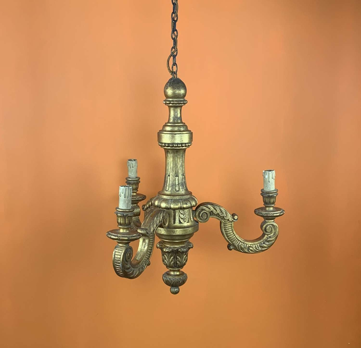 Italian Carved Giltwood Three Branch Chandelier