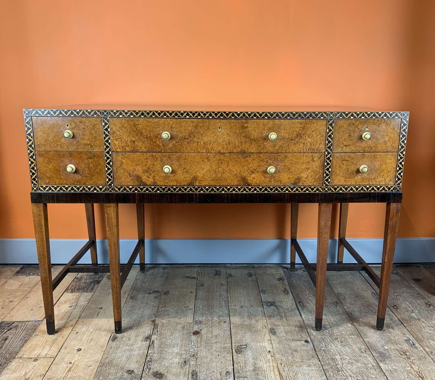 Bath Cabinet Makers Art Deco Inlaid Burl Amboyna Sideboard Console