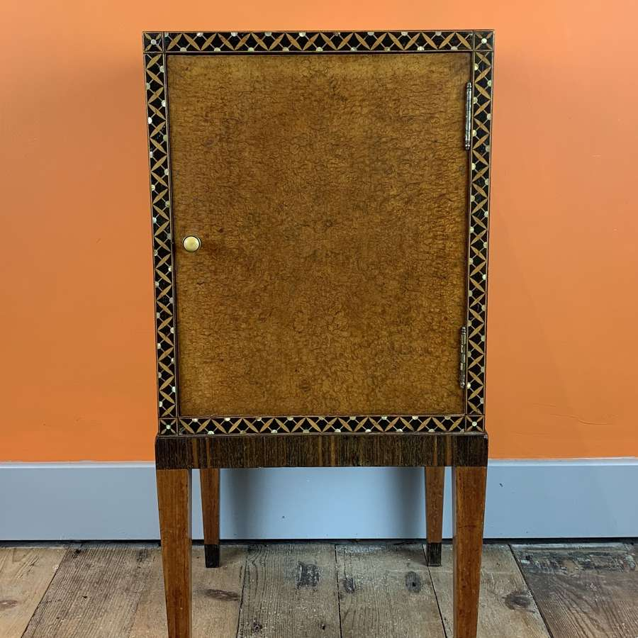 Bath Cabinet Makers Art Deco Inlaid Burl Amboyna Bedside Pot Cupboard