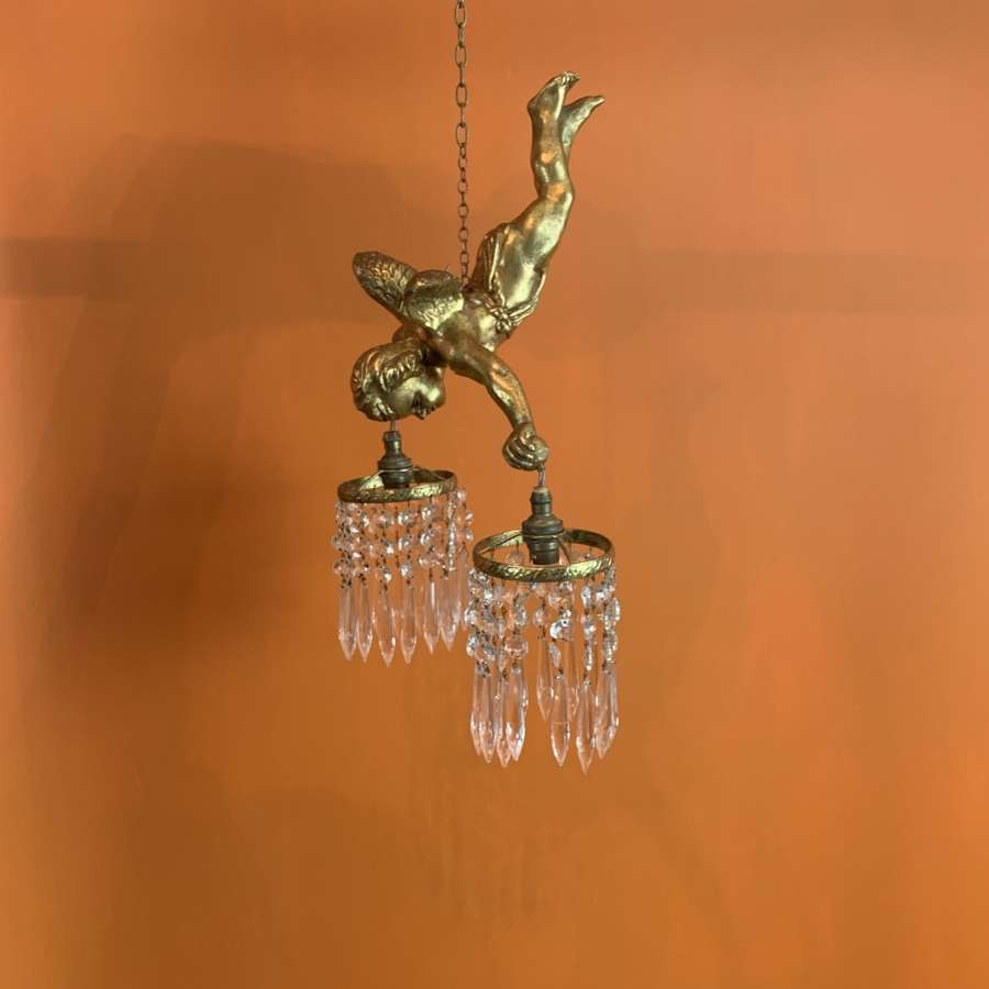 Vintage Gilt Cherub Chandelier with Cut Glass Drops