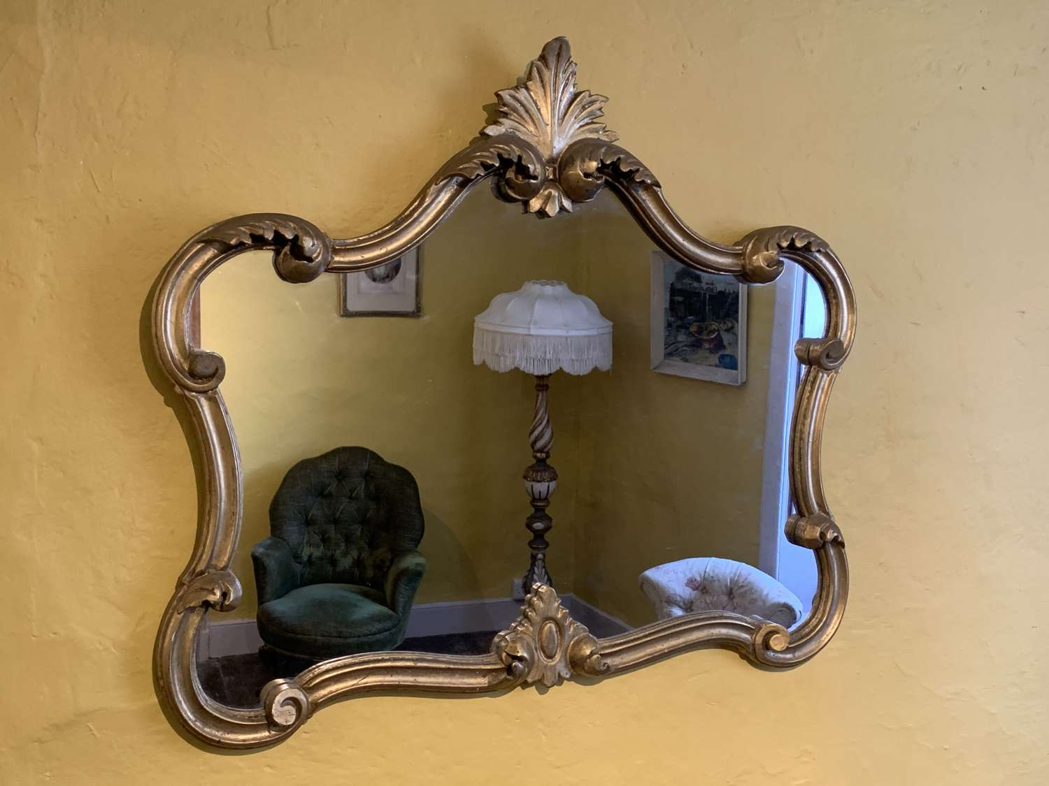 Carved Giltwood Wall Mirror in Florentine Style
