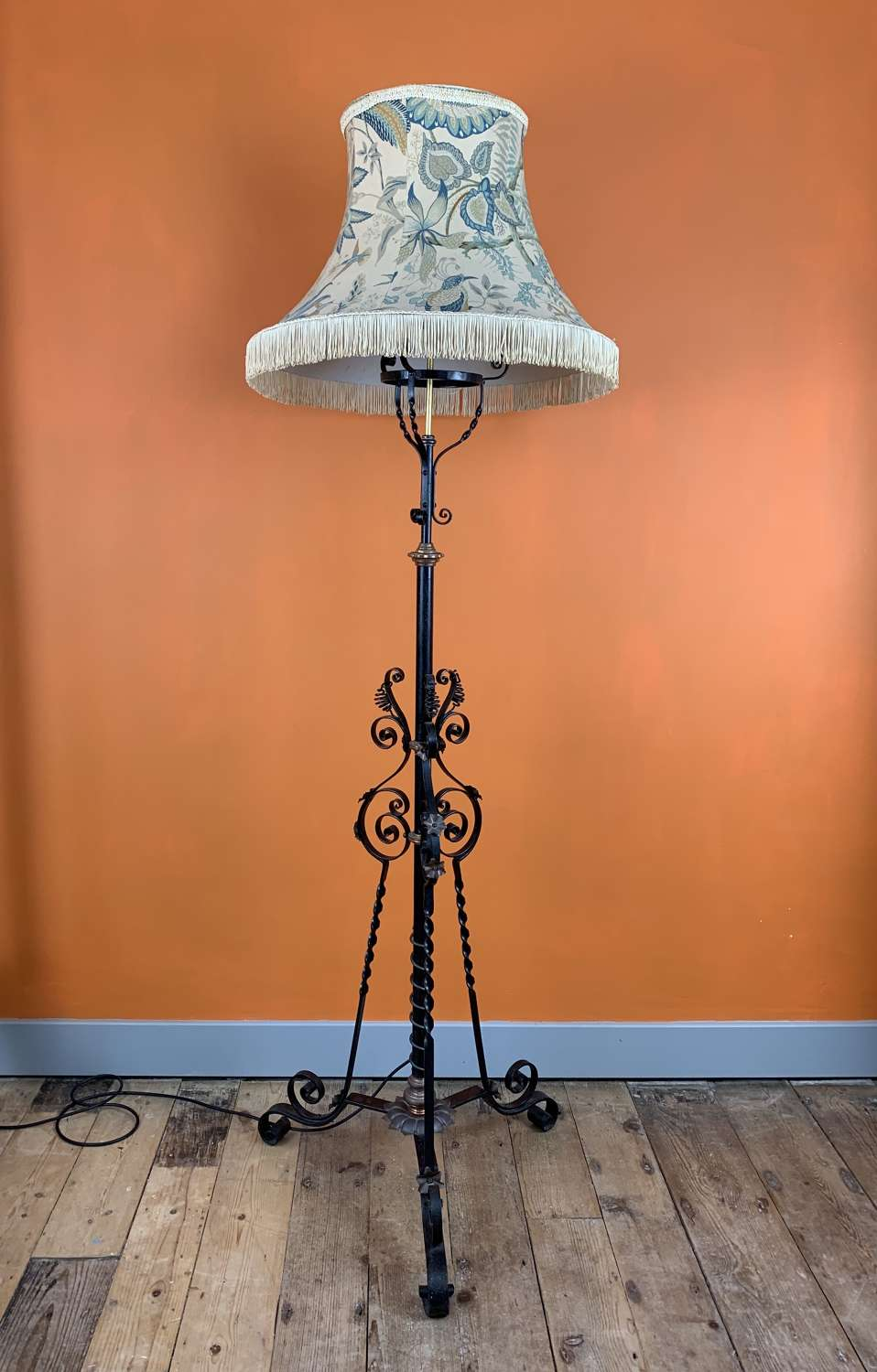 Arts & Crafts Wrought Iron & Brass Standard Lamp