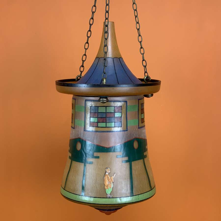 Czechozlovakian Hand Painted Glass Lantern of Pagoda Form