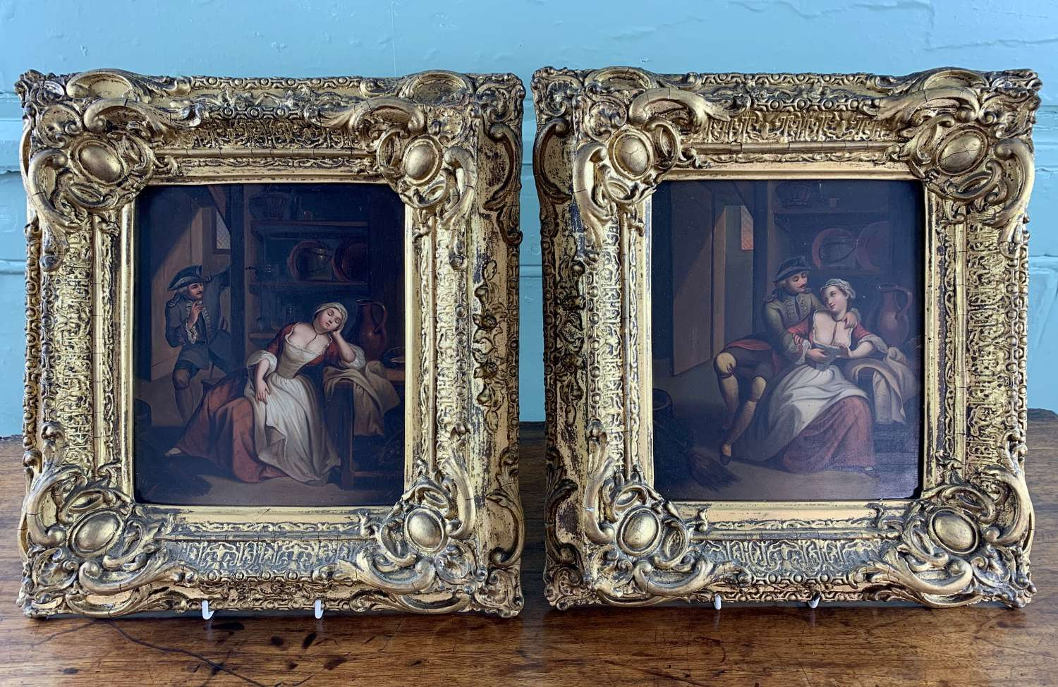Pair of 19th Century Continental Oil Paintings of an Amorous Couple