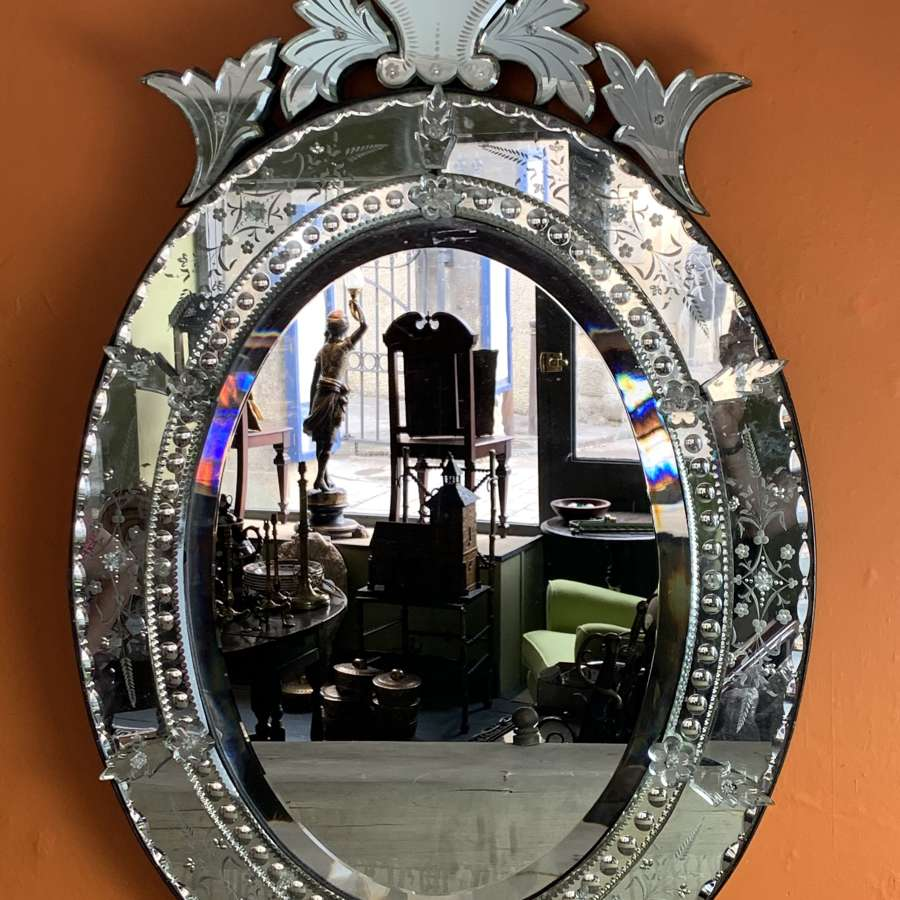 Antique Venetian Engraved & Bevelled Glass Wall Mirror