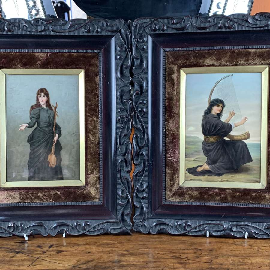 Pair of Berlin Hand Painted Porcelain Plaques of Female Musicians