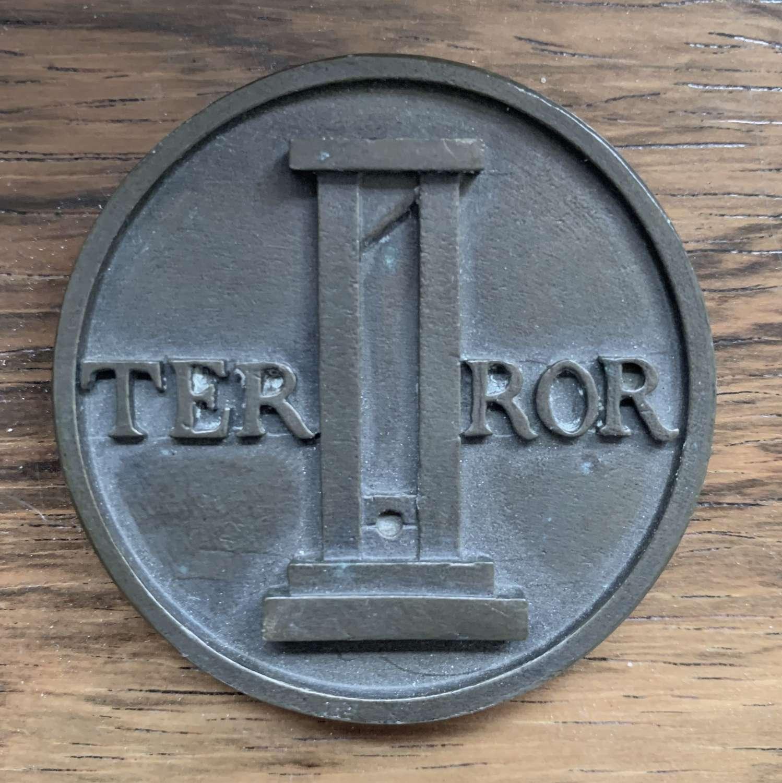 Ian Hamilton Finlay 'TERROR / VIRTUE' Bronze Medal