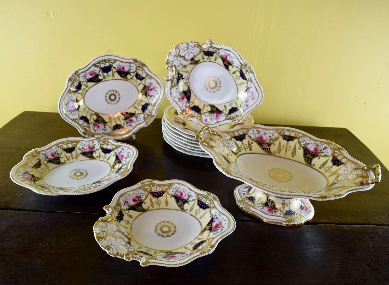 John Yates Hand Painted Porcelain Dessert Service circa 1830