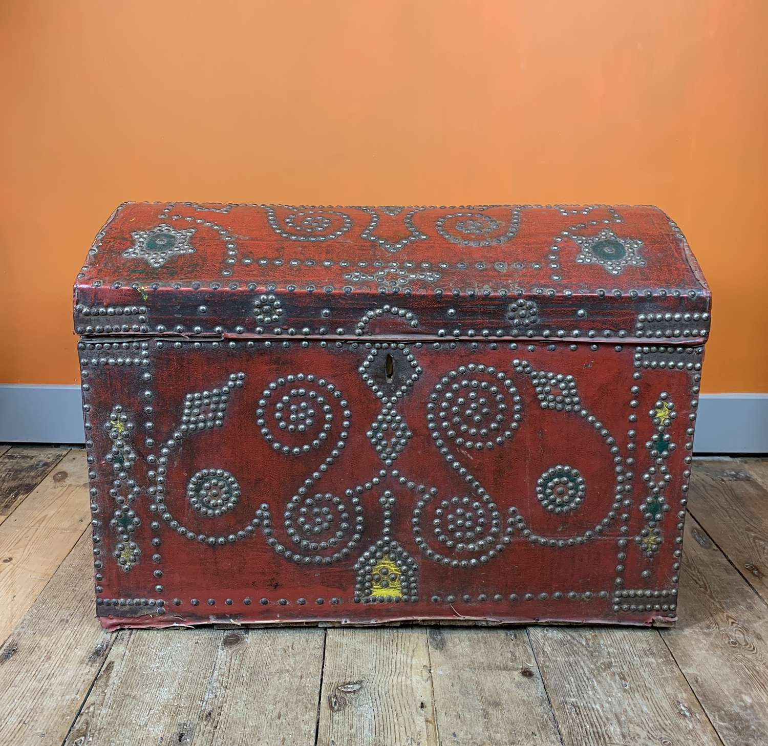 Antique Cloth Covered Carriage Trunk with Studded Decoration