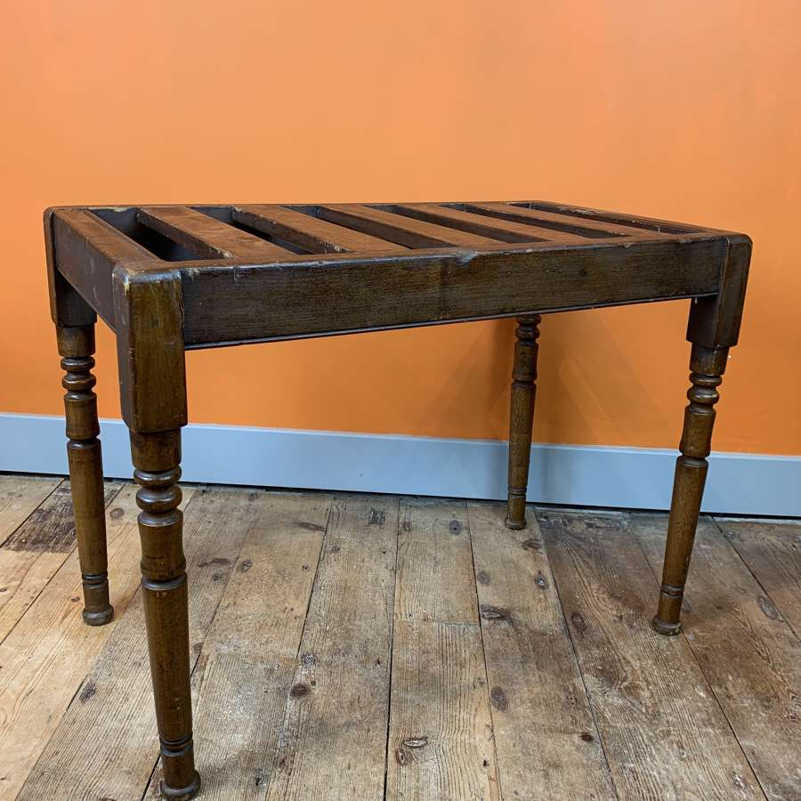 Large Edwardian Stained Beech Luggage Rack