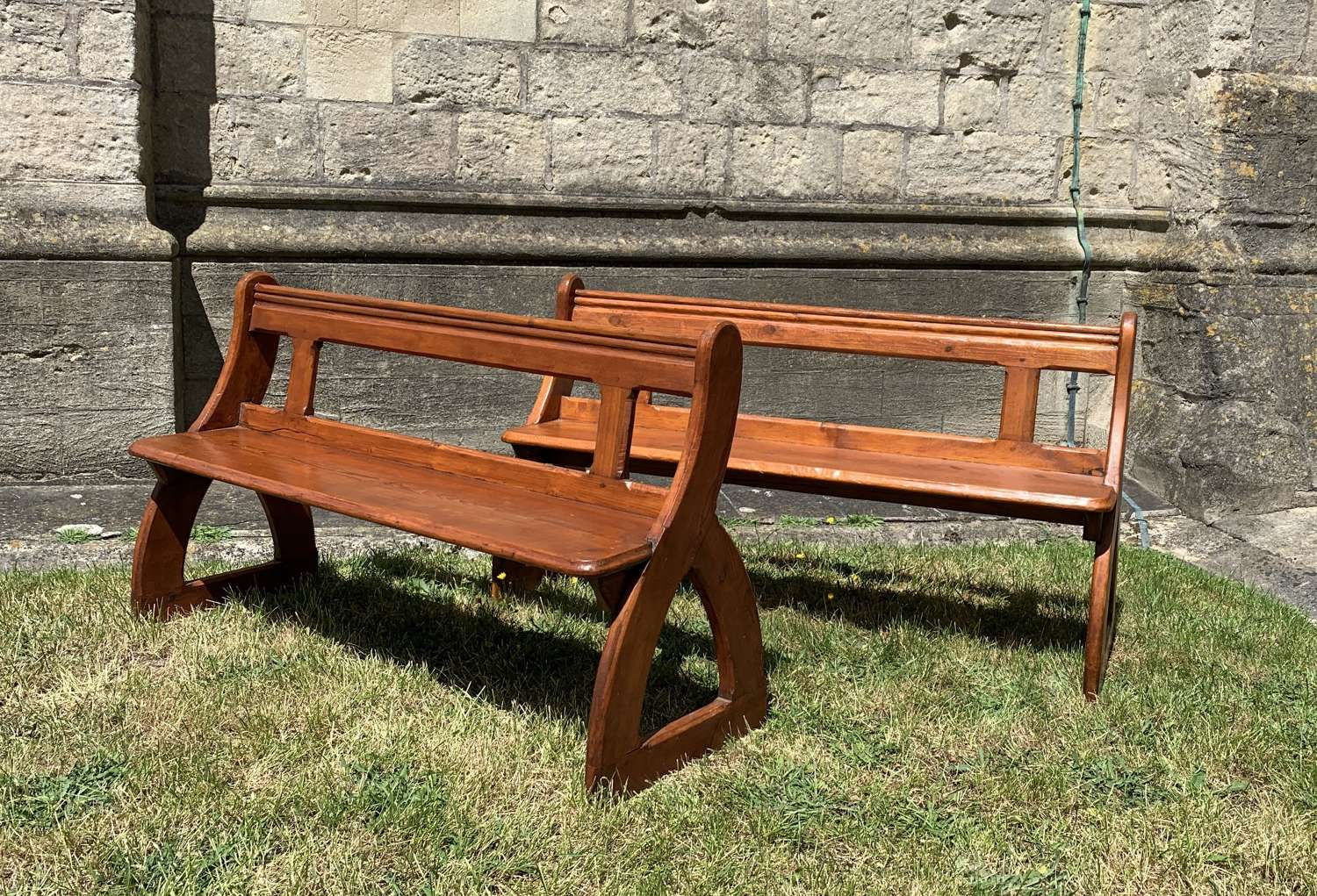 Pair of Victorian Pine Church Pews