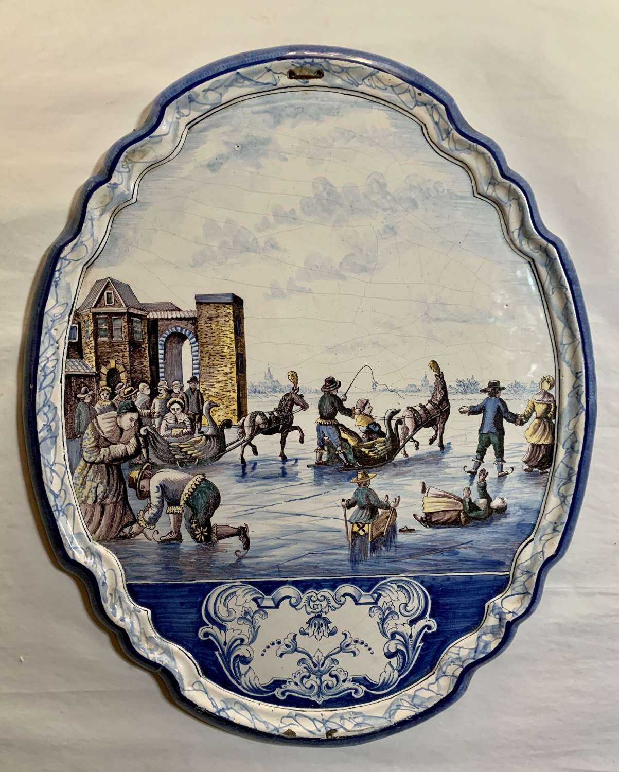 Large Pair of Royal Makkum Polychrome Delft Wall Plaques