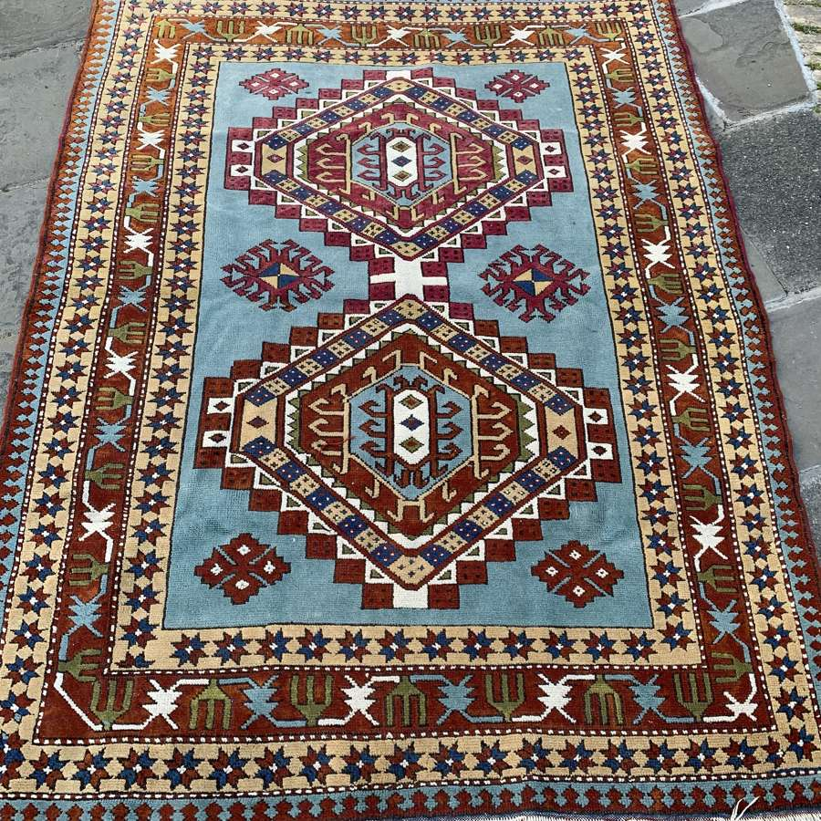 Caucasian Blue Ground Medallion Rug