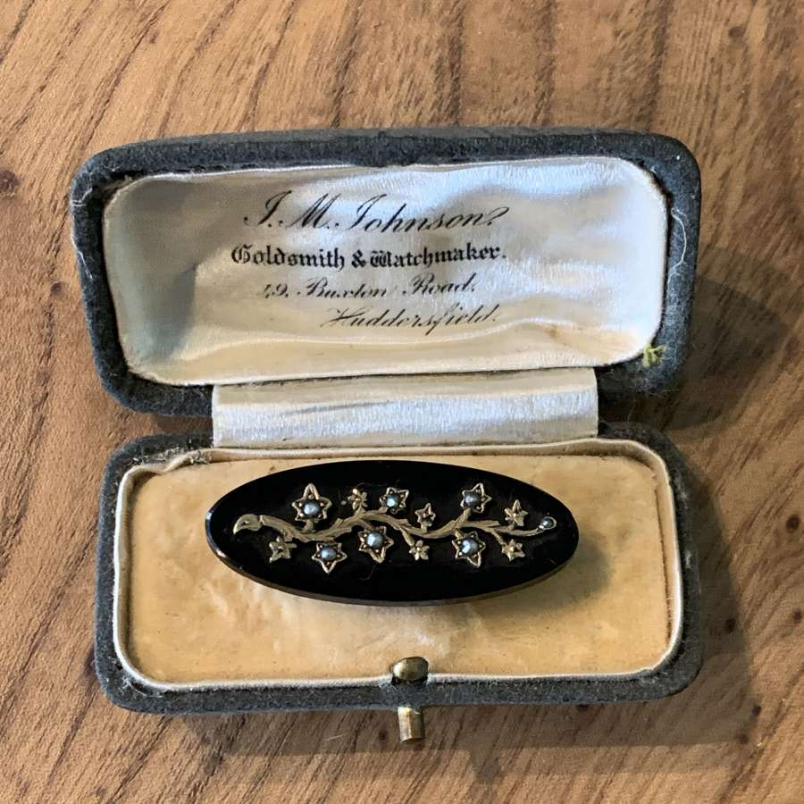 Victorian Seed Pearl & Gold Set Black Onyx Brooch