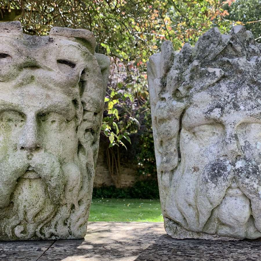 Pair of French Carved Stone Mascaron Keystones in Renaissance Style