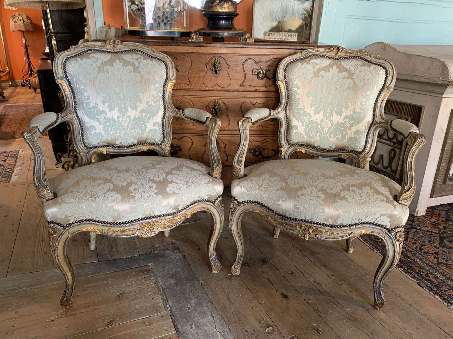 Pair of French 19th Century Painted Fauteuil in Louis XVI Style